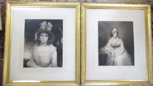 2 gilt framed Victorian prints of a young woman both signed in pencil Joseph B Pratt published by
