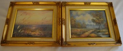 Pair of gilt framed oil on canvas paintings of a landscape & a view across sand dunes signed