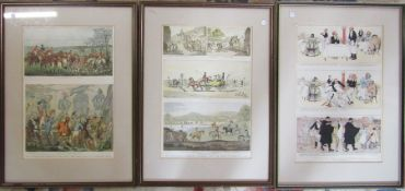 3 framed engravings - Old Fashioned sporting prictures and the road in byegone days, The half