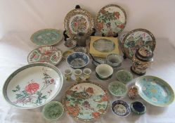 Two boxes of assorted Oriental ceramics inc plates, charger, bowls etc