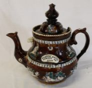 "Large Measham  / barge ware teapot entitled ""Joseph Smith August 18 1912"" (rim a/f) height approx."