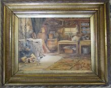 Gilt framed watercolour of a rural kitchen signed HB 68 cm x 55 cm (size including frame)