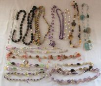 Selection of multi gemstone style necklaces