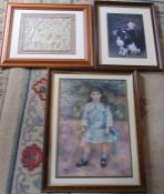 Framed prints and a framed Chinese silk