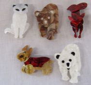 5 brand new Lea Stein style animal brooches inc dog, bear and fox