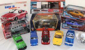 Burago Lamborghini 1/18 & BMW M Roadster 1996, Maisto Pro Rodz 1965 Chevrolet Malibu & 1969 Dodge