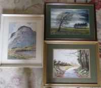 Watercolours by E Grieg Hall & Anne Gill & a framed print