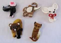 5 brand new Lea Stein style animal brooches inc elephant, bear, dog and cat