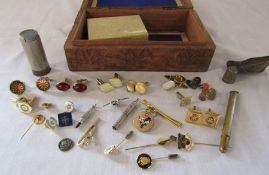Box containing selection of cufflinks and tie pins etc inc Rotary Club, coin shotgun cartridge