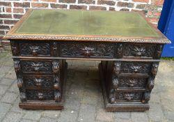 Late 19th/early 20th century heavy carved oak twin pedestal desk