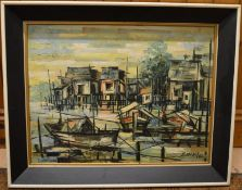 Abstract oil on board of a harbour scene signed S Meng '61 frame size 73cm by 59cm