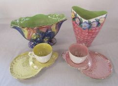 2 Maling lustre ware vases H 20 cm and 15 cm and two Maling cups and saucers