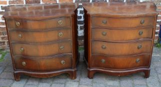 Pair of Regency style serpentine fronted chests of drawers