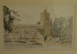 Follower of Constable - framed 19th century watercolour of Aldenham Church with a deep border