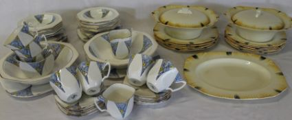 Alfred Meakin Art Deco tableware and Wellington China part tea / dinner service (af)