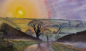 Large framed watercolour depicting the Lincolnshire Wolds by David Cuppleditch 79cm x 62cm including
