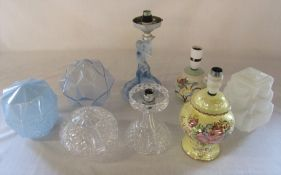 Various glass light shades and glass and ceramic table lamps inc Maling