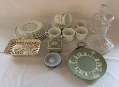 Various ceramics inc Wedgwood and Heals & 2 cut glass decanters and silver plate
