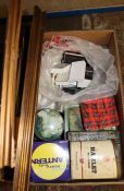 Selection of picture frames, old tins and a quantity of small jewellery boxes