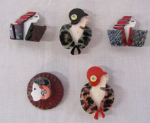 5 brand new Lea Stein style Art Deco ladies brooches