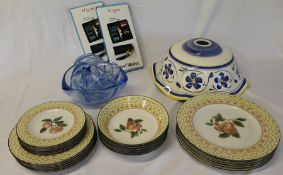 """Johnson Bros """"Fruit Sampler"""" part dinner service, large blue glass bowl and 6 small dishes,"""