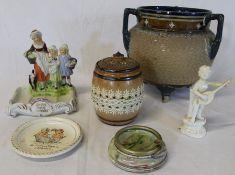 Doulton Lambeth lidded jar, similar jardiniere (af) Yardley English Lavender soap stand etc.
