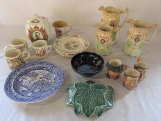 Various ceramics inc small Beswick character jugs and graduated Victorian jugs