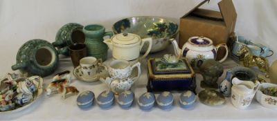 Ringtons 50th Anniversary teapot, Booths Art Deco infusion coffee maker, jasperware eggs, large meat