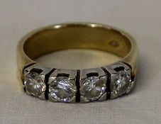 18ct gold 4 stone diamond ring 6.6g each diamond approx. 0.30ct