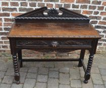 Late Victorian carved dark oak serving table