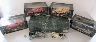Selection of die cast model cars - Burago 1/18th scale 1962 Ferrari 250 GT, 1984 Ferrari Testarossa,