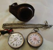 2 Swiss silver ladies fob watches, leather holder & silver fob chain 0.84 ozt