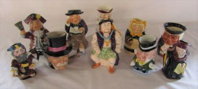 Assorted toby jugs and character jugs inc Melba Ware, Tony Wood and Burleigh ware