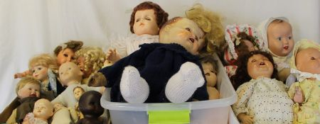 3 boxes of mixed vinyl, bisque and composition dolls etc.