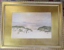Victorian gilt framed watercolour of a beach scene with a ship in the distance by John Nesbitt