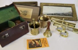 2 brass pestles & mortars, pair of cased bowls, brass framed mirror, 2 picture lights & small