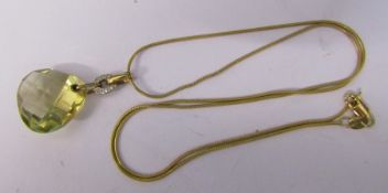 9ct gold necklace with 9ct gold citrine and diamond chip pendant total weight 6.4 g (weight of