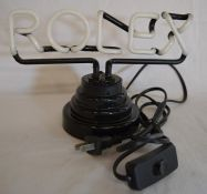 Rolex neon desk top sign with a 2 pin plug Ht approx 15cm