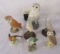 Various owls etc inc Beswick and Royal Doulton & a Harrods truck