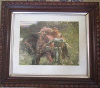 """Framed print """"La Belle Dam Sans Merci"""" after Frank Dicksee 76 cm x 66 cm (size including frame)"""