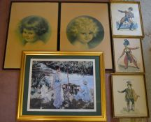 Pair of prints of young girls, 3 prints of actors in costume & one other