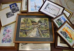 Selection of framed prints (some local) including Diane Brookes, watercolours by Christine Shaw, W