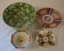 Green Oriental bowl and a small octagonal bowl, small dish & an Imari plate