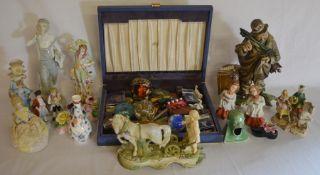 Various costume jewellery, paperweights, figurines etc