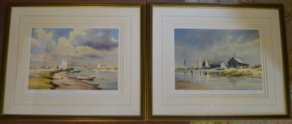 Pair of large framed limited edition prints by Denis Pannett of small boats in a haven 'Ready for