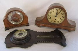 2 wooden mantel clocks (af) and a barometer