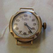 Ladies 9ct gold Bentima star watch (no strap) (case weight 2.6 g)
