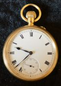 Pocket watch in an 18ct gold Borgel screw case. Case stamped Brevet 322753 movement stamped S & Co.
