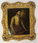 "Small gilt framed oil on canvas - a copy of Giovanni Battista Moroni ""The Tailor"" ('II"