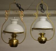 2 brass ceiling paraffin lamps converted to electricity